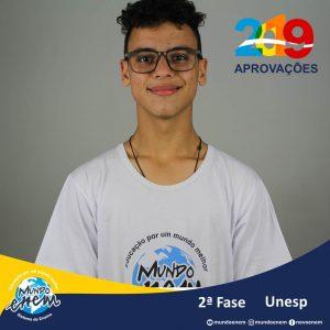 Parabéns Gabriel eugênio pela aprovação para a 2ª fase da UNESP - Universidade Estadual Paulista