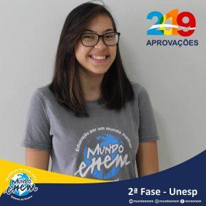 Parabéns Milena pela aprovação para a 2ª fase da UNESP - Universidade Estadual Paulista