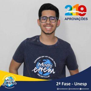 Parabéns Vitor Ribeiro pela aprovação para a 2ª fase da UNESP - Universidade Estadual Paulista